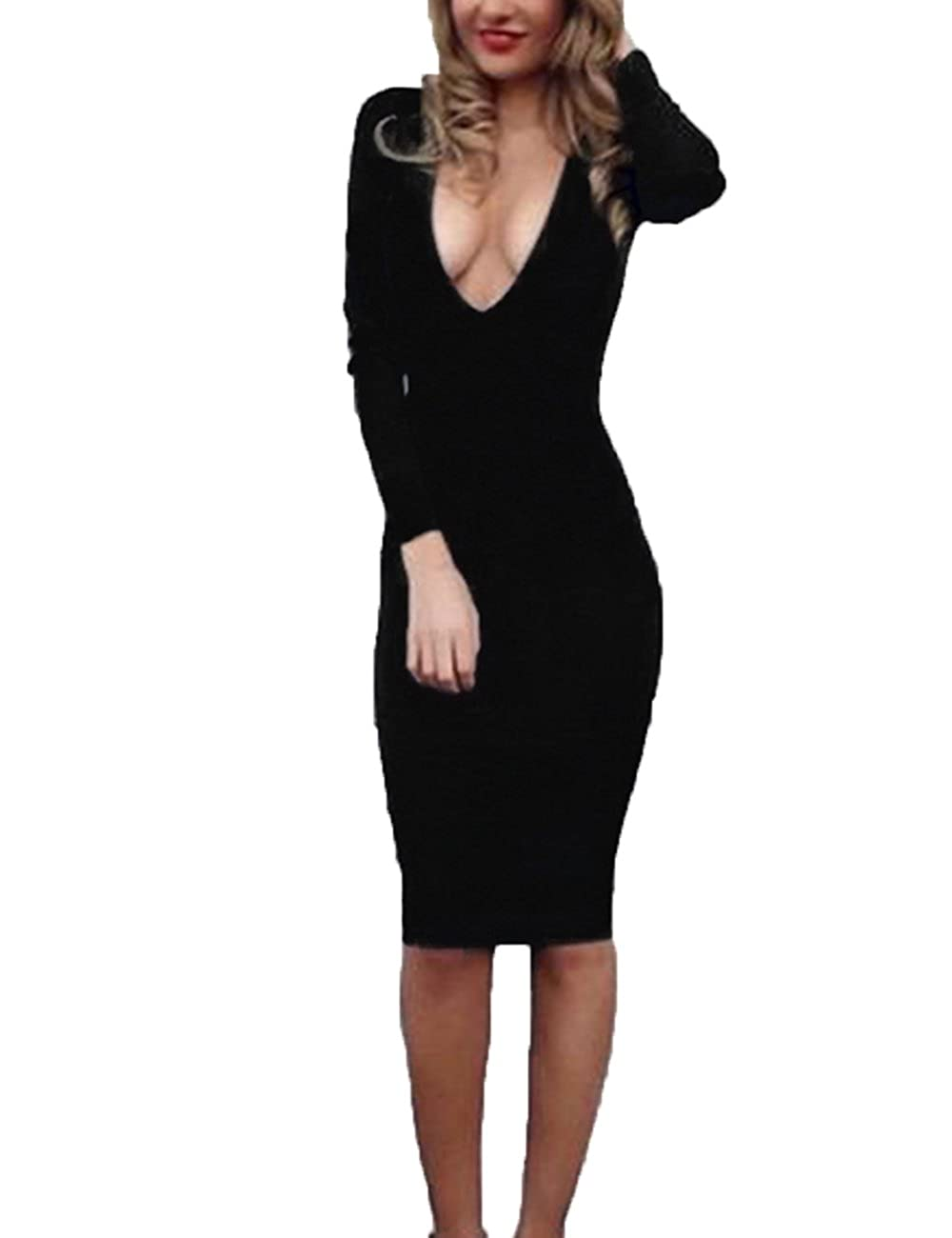 8bb1674397 UZZDSS 2018 Winter Warm Fabric White Red Black Deep V-Neck Long Sleeve Sexy  Bodycon Bandage Party Club Night Wear Dresses