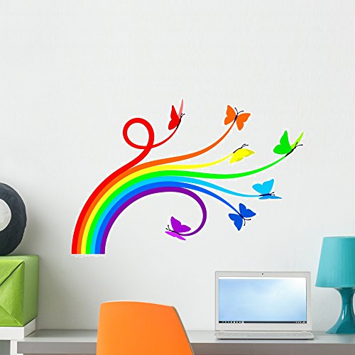 Wallmonkeys Rainbow Butterflies Wall Decal Peel and Stick Graphic WM151008 (24 in W x 17 in H)