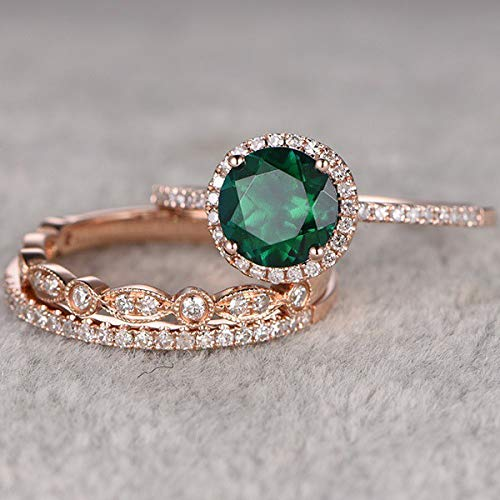 Panwa Jewelry 3pcs/set Retro Women Emerald 18K Gold Filled Wedding Engagement Ring Set Sz 6-10 (6)