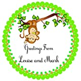 40 Personalized labels, Little Monkey, 2'' Round Custom Labels, Baby Shower Theme Party Stickers, Hangtags, Cupcakes Toppers, Gift Tags - Choice of Size
