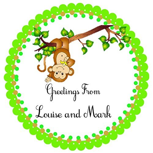 40 Personalized labels, Little Monkey, 2'' Round Custom Labels, Baby Shower Theme Party Stickers, Hangtags, Cupcakes Toppers, Gift Tags - Choice of Size by The Party Palace