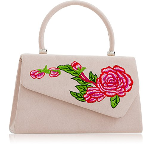 Leather Xardi Women Handbags Nude Girls Evening Clutch Faux Handheld Ladies Suede London Bags Floral New 8qaR8r