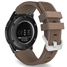 Gear S3 Frontier / Classic Watch Band, MoKo Soft Silicone Replacement Sport Strap for Samsung Gear S3 Frontier / S3 Classic / Moto 360 2nd Gen 46mm Smart Watch, NOT FIT S2 & S2 Classic & Fit2, COFFEE
