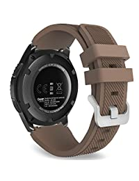 MoKo Gear S3 Frontier / Classic Watch Band, Soft Silicone Replacement Sport Strap for Samsung Gear S3 Frontier / S3 Classic / Moto 360 2nd Gen 46mm Smart Watch, NOT FIT S2 & S2 Classic & Fit2, COFFEE