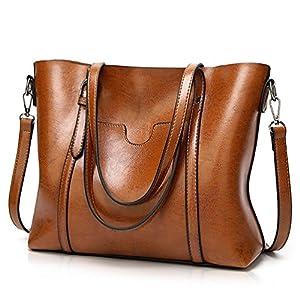 Essfeeni Top Handle Bag Shoulder Bag Satchel Handbags Tote Purse for Women Lady Brown
