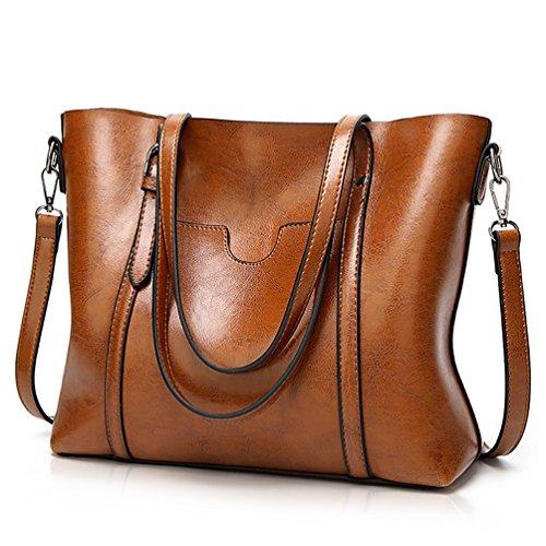 Essfeeni Top Handle Bag Shoulder Bag Satchel Handbags Tote Purse for Women Lady Brown