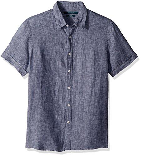 (Perry Ellis Men's Short Sleeve Solid Linen Shirt, Ink-4dsw7078, X-Large)