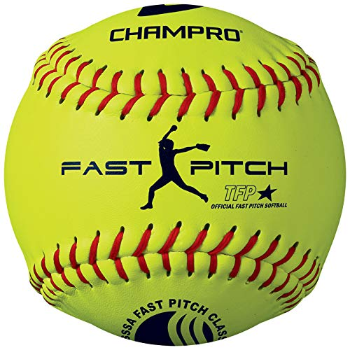 Champro Leather USSSA Fast Pitch Ball (Optic Yellow, 11-Inch) (Pack of 12)