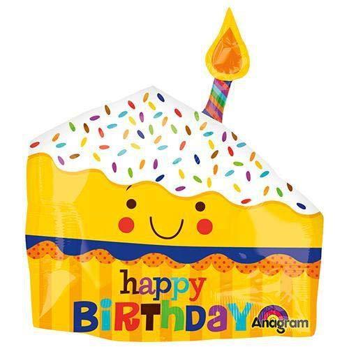 Anagram 30818 Happy Slice Of Cake Foil Balloon 26 Multicolored