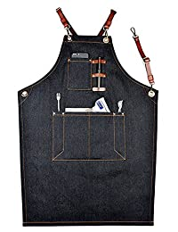 Perfashion Cool Men's / Women Apron with Adjustable Leather Straps & Waist Multi Pockets X-Strap Brown Leather