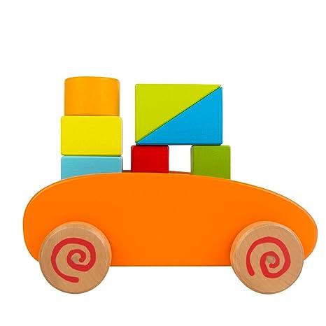 ColorBaby - Carrito bloques de madera, 9 piezas (42748)