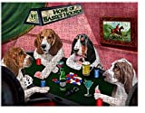 Home of Basset Hounds 4 Dogs Playing Poker Puzzle with Photo Tin (252 pc.)