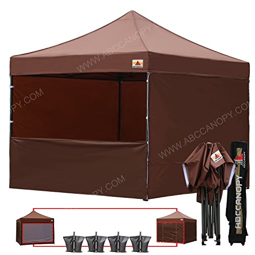 Festival Wall (ABCCANOPY 10-feet By 10-feet Festival Steel Instant Canopy, Commercial Level, with Wheeled Storage Bag, 6 Removable Zipper End Walls, Bonus 4x Weight Bag (brown))