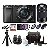 Sony ILCE6000L/B ILCE6000LB ILCE-6000LB Alpha A6000 Mirrorless Digital Camera with 16-50mm Lens (Black) + Sony E 55-210mm F4.5-6.3 Lens for Sony E-Mount Cameras (Black) + Sony 64GB SDXC Class 10 UHS-1 Memory Card + Focus Deluxe Soft Shell Camera Gadget Bag + NPFW50 Replacement Battery + Deluxe Accessory Kit