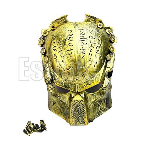 Warriors Mascot Costume - Itemap 1X Predator Warrior Rivet Costume Halloween Mask Adult's Day Mask Cosplay Props (Gold)