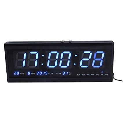ZJchao Large Digital Led Wall Modern Clock Timer with Calendar Temperature for Living Room, Office