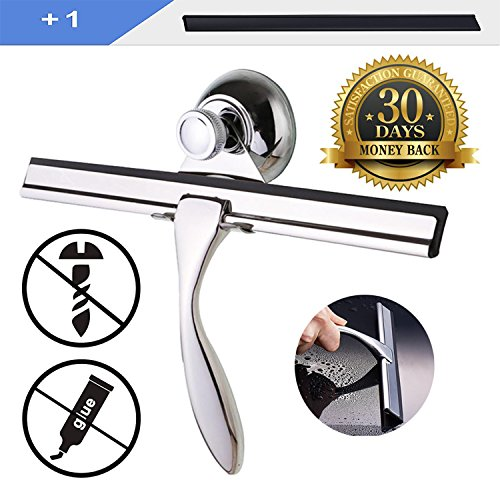 1 Glass Shower Door - FCXZSSY Shower Squeegee,Bathroom Squeegee Shower Doors Glass Squeegee +1 Replacement Rubber Blade,Stainless Steel squeegee shower cleaner for Glass Cleaning with Suction Cup Hooks (Metal color)