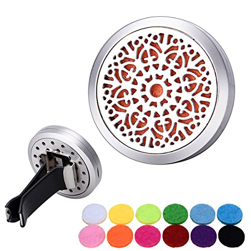 Bluesnow Car Air Freshener Aromatherapy Essential Oil Diffuser Clip, Stainless Steel Hollow Retro Patterns Round Locket with 12 Refill Pads