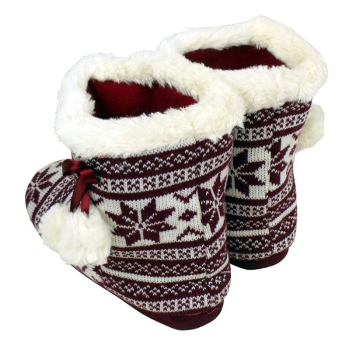 Flakes Womens Furr Slippers Furry Boot Eskimo Slipper Sizes Bootee Ladies Ankle White Red Quality 8 3 rZpFOqr