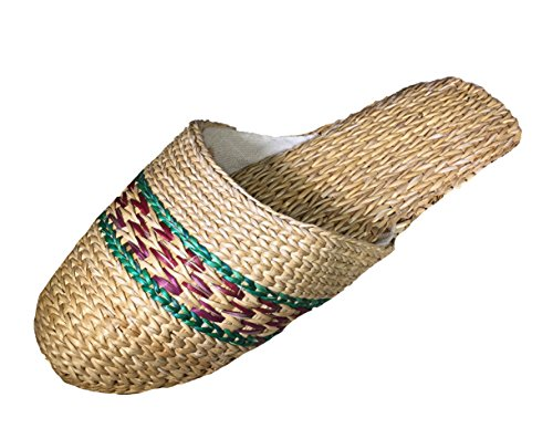 Adorable Natural Straw Handmade Indoor Slippers with Variety Colors and Sizes (Medium, Strip Green)