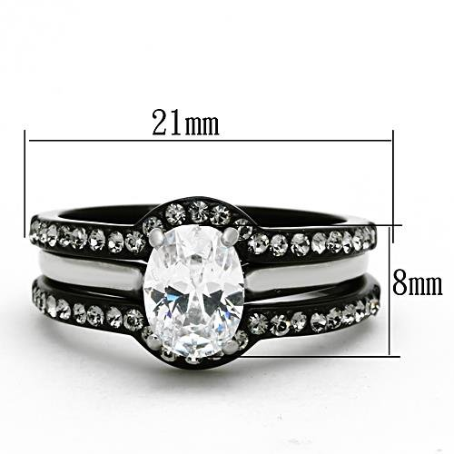 Black Stainless Steel Oval Cut Cz Cubic Zirconia Wedding Engagement 3 Ring Set