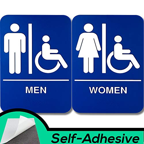 ADA Mens and Womens Restroom Braille 9 in x 6 in Signs With Braille Lettering By Retail Genius. Durable Plastic Placards Display Bathroom Location and Gender. Self-Adhesive Backing For Easy Install ()