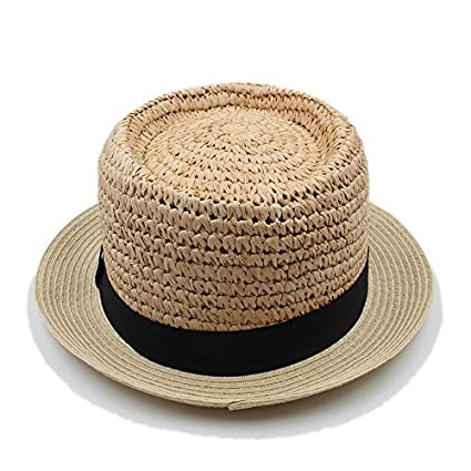 63ec0dd8 Yaojiaju Handwork Summer Women Men Raffia Boater Beach Sun Hat For Elegant  Lady Flat Top Fedora