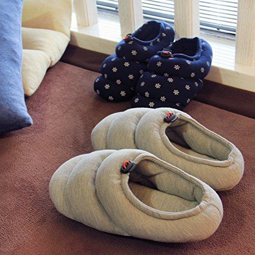 Fankou grazioso inverno pantofole di cotone morbido femmina metà inferiore con piscina coperta anti-slittamento home scarpe caldo autunno ,35-36, caffè di luce