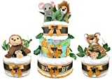 Safari Diaper Cakes - Set of (3) - 86 Size 1 Diapers - Gender Neutral - Baby Shower Gift - Centerpieces