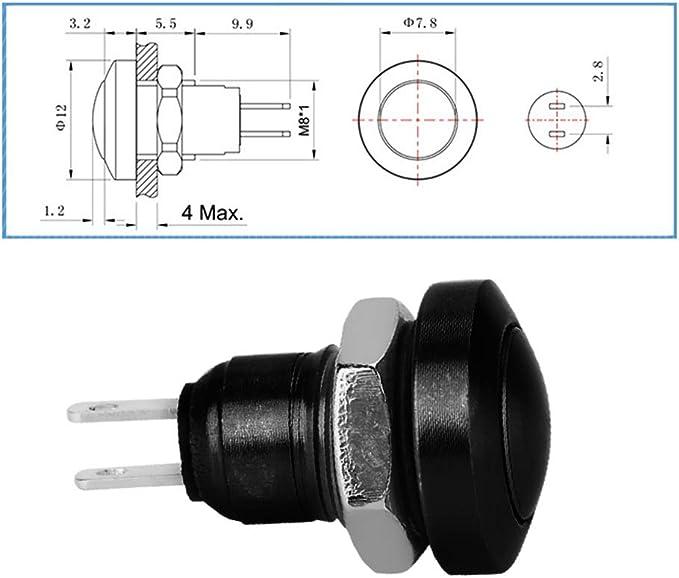 Keenso 1a 24v Kurzzeit Druckschalter Mini Wasserdichter Druckknopf Zink Aluminium Legierung Shell Geeignet Für 8mm Montagebohrung Schwarz Auto