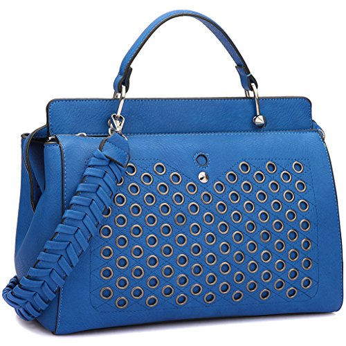Double Zip Top Handle Satchel Handbag Designer Perforated Purse w/ Weave Shoulder Strap Blue (Satchel Top Zip Woven)