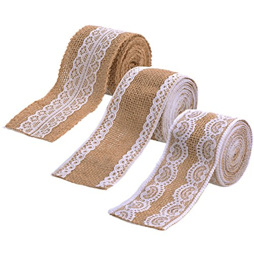 eBoot 3 Pieces Natural Burlap Ribbons with White Laces for DIY Handmade Wedding Crafts Lace Linen, 78.7 Inches Each