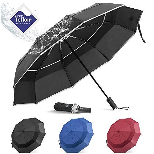 BANANA Windproof Folding Rain Umbrella - Compact Durable Portable Travel Size Unbrella Auto Close/Open Double Canopy Vented with Teflon Coating Collapsible Lightweight Umbrellas for Mens (Black) (Double Canopy Umbrella)