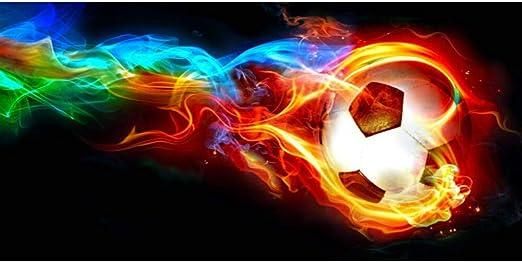 Amazon.com: YJFFBH Canvas Painting Soccer Ball On Fire Rainbow ...