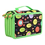 72 Insert Pencil Bag, Multi-layered Capacity Pockets Carry Case Student's Stationary Pencil Bag Children Pen Pouch Organiser for School Teenagers Girls Makeup Cosmetic Holder (Black)