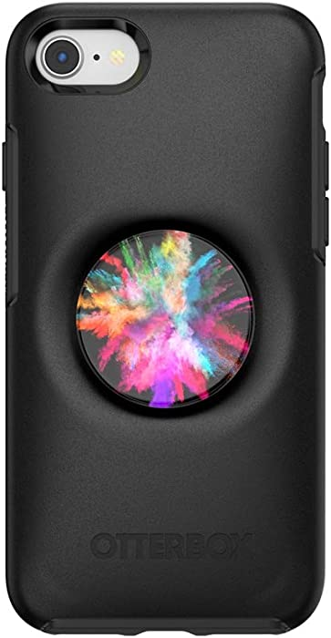 Otter + Pop for iPhone SE, 7 and 8: OtterBox Symmetry Series Case with PopSockets Swappable PopTop - Black and Color Burst Gloss