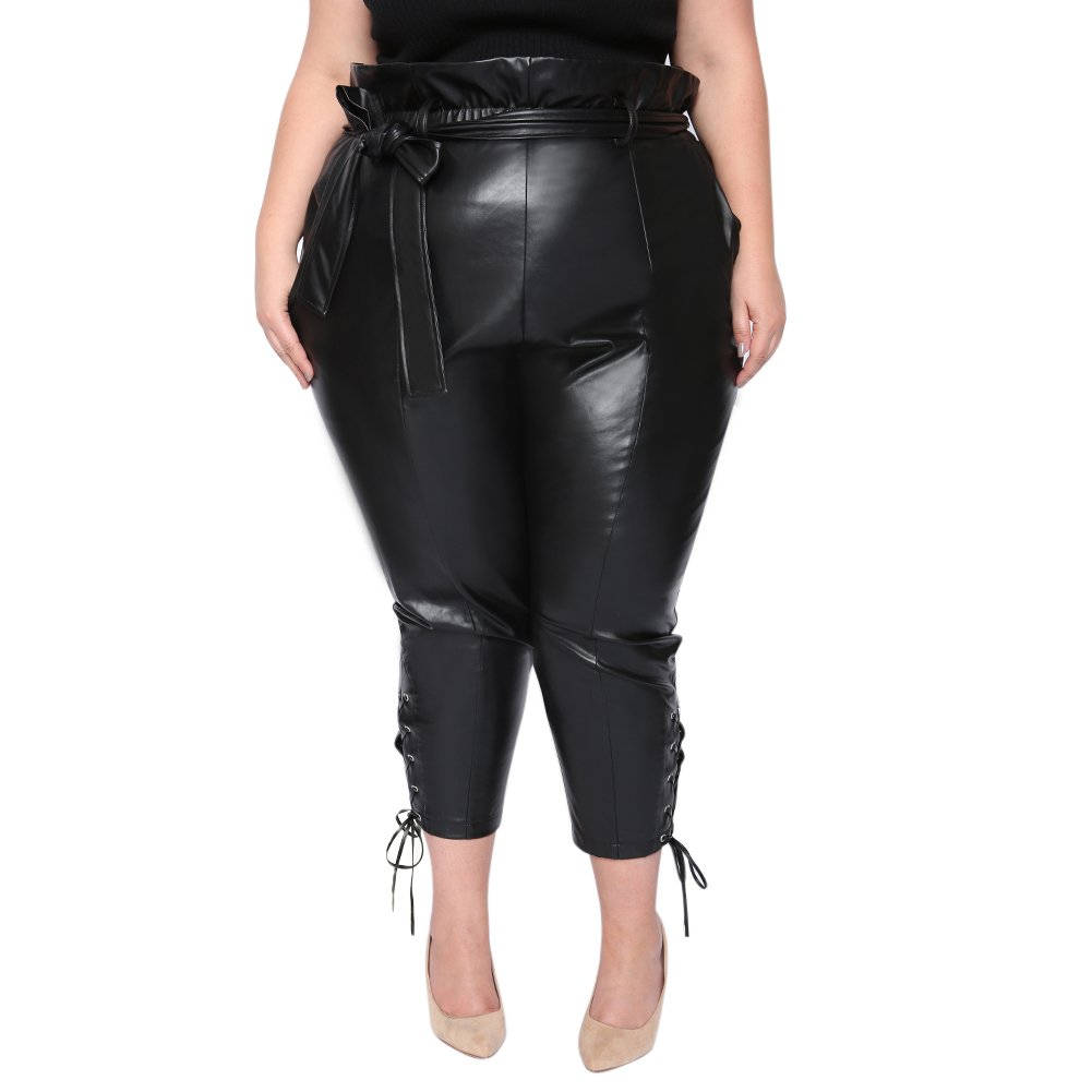 Astra Signature Women's Stretch Casual Anne Leather Paperbag Pants with Pockets