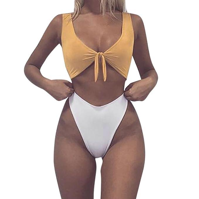 Bañadores Bikinis,Longra Mujeres Bikinis Push Up de Cuello en V Acolchado Tejido Bra Bathingsuit