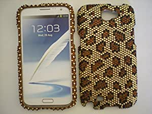 For Samsung Note 2 Full Diamond Fashion Design Cover - Golden Leopard + Bonus Universal 3-in-1 Touch Stylus Pen (Hot Pink or Black or Silver)