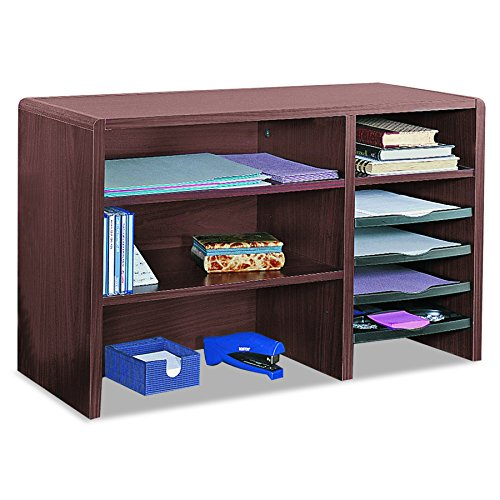 Safco 3692MH Desktop Organizer, Nine Sections, 29 x 12 x 18, Mahogany by Safco Products