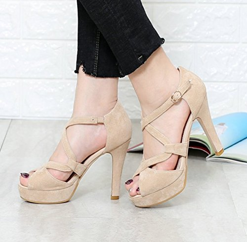 Sandals MDRW Waterproof Heels The Work Cross Elegant Fine With Toe Sexy Strap Beige Instep Leisure Spring 11Cm Lady 39 HrqHn1A