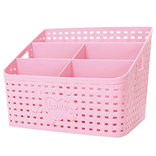 Plastic Bathroom Shower Makeup Organizer, Coideal Large Pink Basket Desktop Storage Organizer Caddy Office Supplies/Skin Care/Cosmetic Holder Box for Countertop Home Kitchen Office Desk 5 Compartments