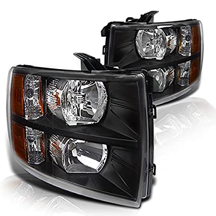 Amazon.com: Instyleparts Chevy Silverado 1500 2500 3500 HD Clear Lens Headlights with Black Housing: Automotive