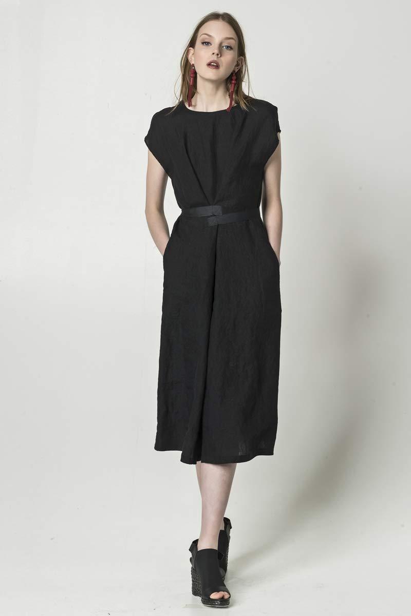 Black linen dress with pockets, bell-shape linen dress with belts, handmade in Europe