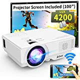 "WiFi Mini Projector, Jinhoo 2020 Latest Update 4200 Lux [100"" Projector Screen Included] Supported 1080P Home Theater with 176'' Projection Size Support TV Stick, HDMI, USB, SD, VGA"