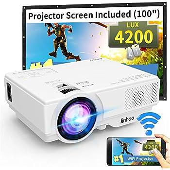 WiFi Mini Projector, Jinhoo M10 2019 Latest Update 4200 Lux [100