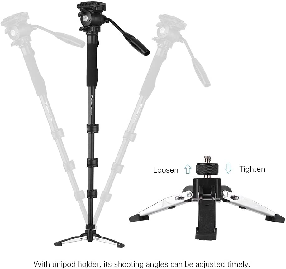 LQUIDE Professional Portable Camera Monopod Head Holder 1//4 3//8 Max,Height 145Cm Max Load Capacity 5Kg