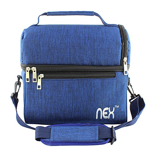 Womens School Box (Nex Lunch Bag Fabric Double Decker Cooler Lunch Box Insulated Lunch Bag with Zip Closure (Blue-2))