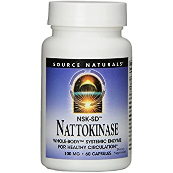 Source Naturals Nattokinase 100mg, Systemic Enzyme for Healthy Circulation, 60 Capsules