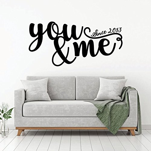 Love Wall Decal - You And Me Since - Vinyl Bedroom Decor, Home, Living Room or Family Room Decoration (Sticker Sticker Rectangular Family)